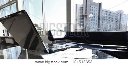 laptop computer with open top. Blank screen.