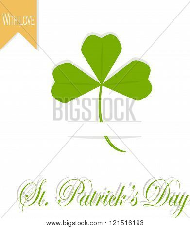 Greeting card St. Patrick's day. White background, green leaves clover, orange mark With love