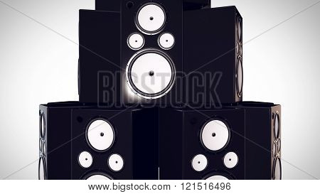 3D Render Of Thumping Bass Speakers.