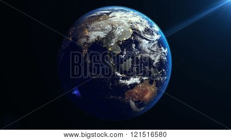 Earth Rotation In Space. Asia.