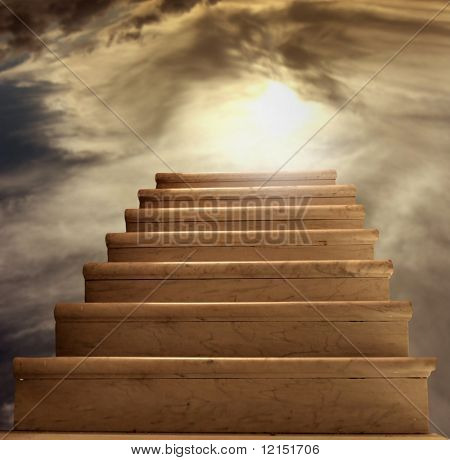a stairs in the clouds