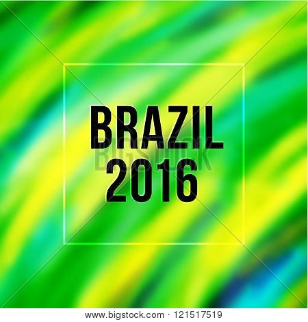 Brazil flag colors blurred background with text