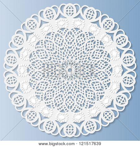 Decorative doily lace snowflake mandala embossed pattern lace pattern arabic ornamentindian ornament