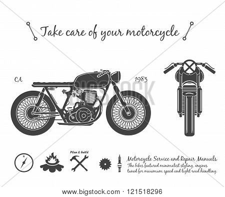Old vintage motorcycle. cafe racer theme. vector illustration