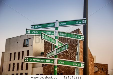 Travel destination on road signs