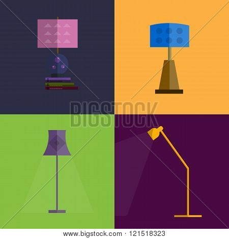 Icon set of Lamps. Modern Flat style
