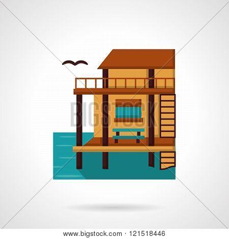 Wooden bungalow flat design vector icon