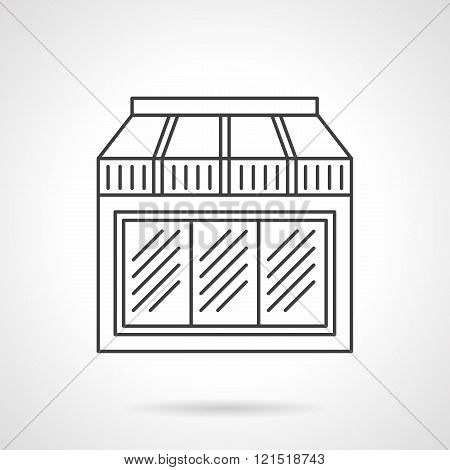 Window with awning flat line design vector icon