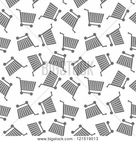 Seamless Shopping Cart Pattern Background