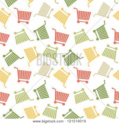 Seamless Shopping Cart Colorfull Pattern Background