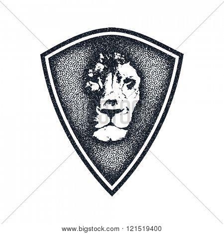 Lion face logo emblem. Vector Vintage Design Element.