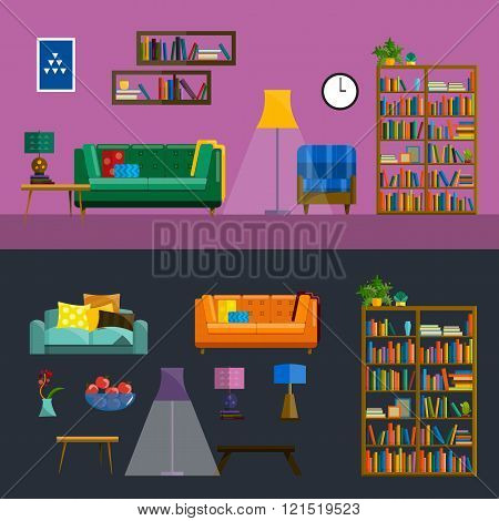 Living room Interior. Modern flat design illustration