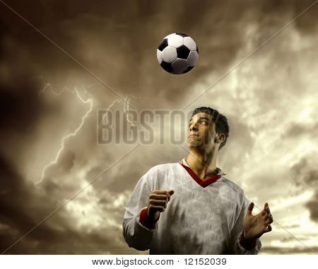 soccer player and a stormy sky