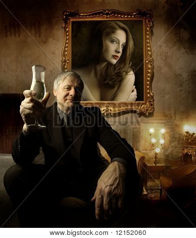 senior man toasting in a luxury interior
