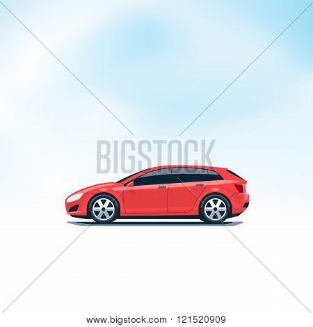Isolated Red Car Hatchback Side View