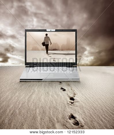 laptop with man walking on the screen