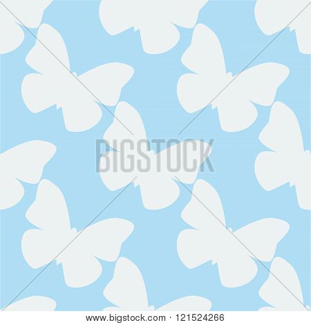 Vector seamless pattern with white butterflies on blue background. Vintage design for wrapping texti