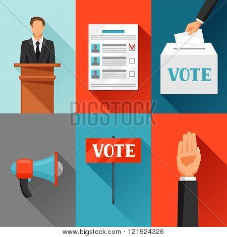 Vote political elections concept. Illustration for campaign leaflets, web sites and flayers