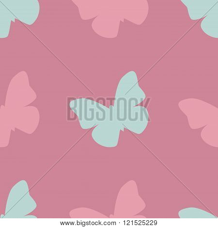 Vector seamless pattern with pink and blue butterflies on pink background. Vintage design for wrappi