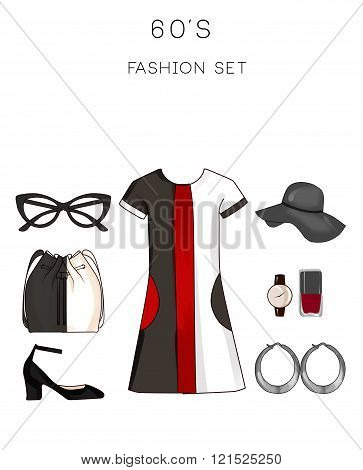 Fashion set of woman's clothes and accessories - Collection outfit from 60's - mod outfit - vintage