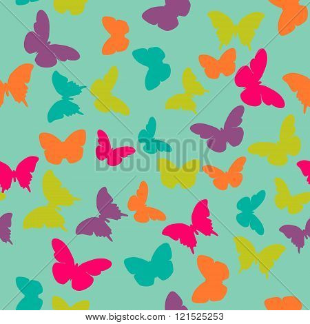 Vector seamless pattern with random purple pink orange green butterflies on blue background. Vintage