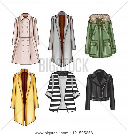 Collection of different Coats - Outwear - Fashion set