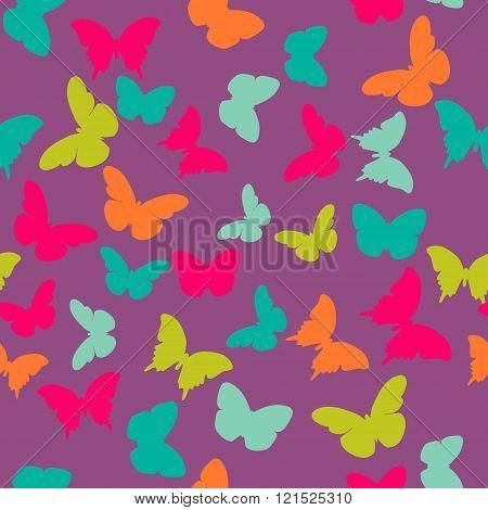 Vector seamless pattern with random orange blue pink green butterflies on purple background. Vintage