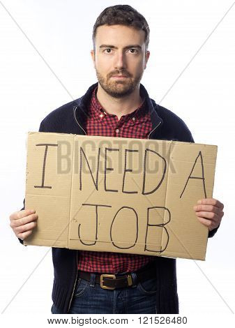 unemployed young adult looking for a job holding sign
