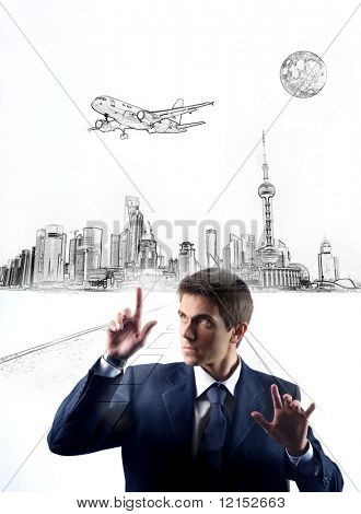 business man touching digital illustration of a city