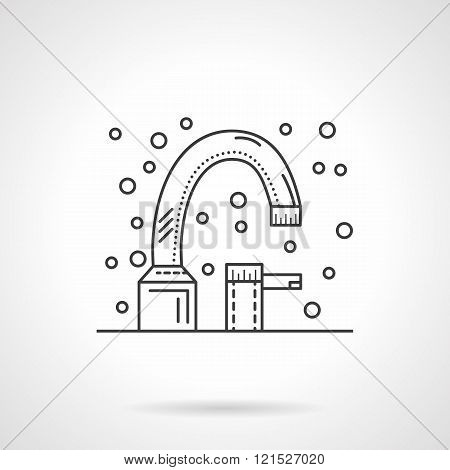 Bath faucet flat line design vector icon