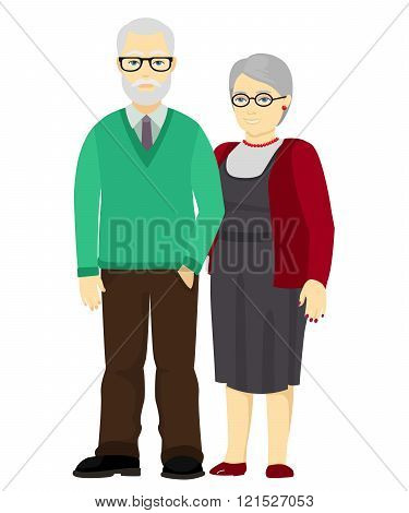 Happy grandfather and grandmother standing together. Old people in family. Vector illustration.