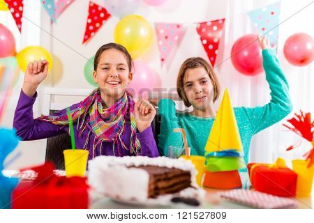 Group Of Child Happy Birthday Party. Selective Focus