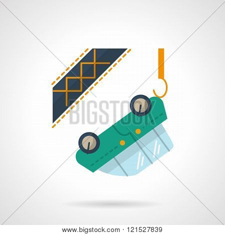 Car towing flat color design vector icon