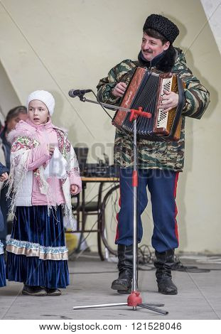 ROSTOV-ON-DON RUSSIA-MARCH 13- Speech by the children's choir of Maslenitsa in Gorky Park on March 13;2016 in Rostov-on-Don