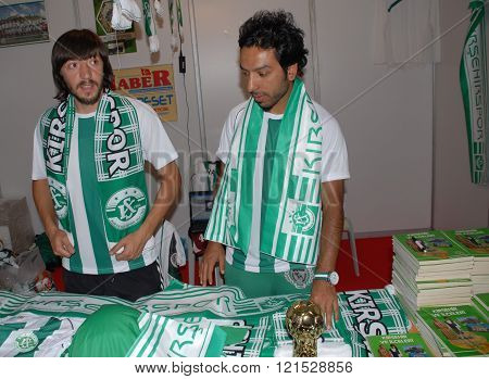 ANKARA/TURKEY-JUNE 7: Two footballer at Kirsehirspor Football Club's stand of the