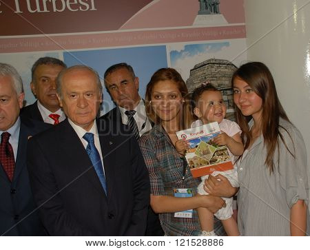 ANKARA/TURKEY-JUNE 8: Nationalist Movement Party-MHP's Leader Devlet Bahceli (L) visit the