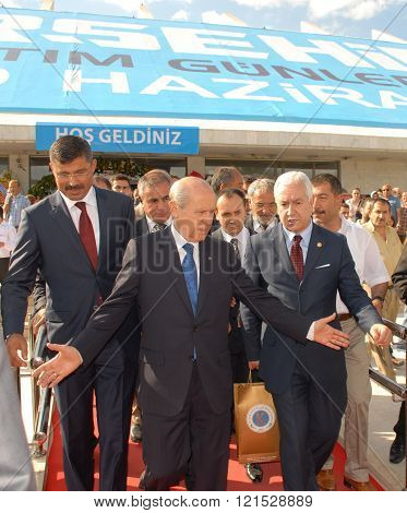 ANKARA/TURKEY-JUNE 8: Nationalist Movement Party-MHP's Leader Devlet Bahceli visit the