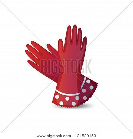 Rubber garden gloves isolated on white background.