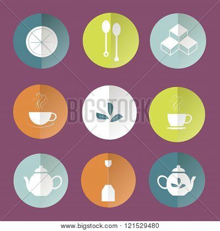 Round tea icons, white marks on orange, blue, light blue, green, white, violet background