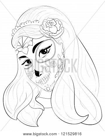 Dia de los Muertos sugar skull girl with roses for Day of the Dead. outline