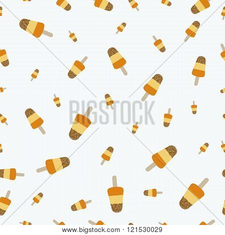 Popsicle ice cream with crumble mixture pattern. Colorful background for your design. Seamless