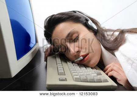 portrait of customer support operator woman falling asleep