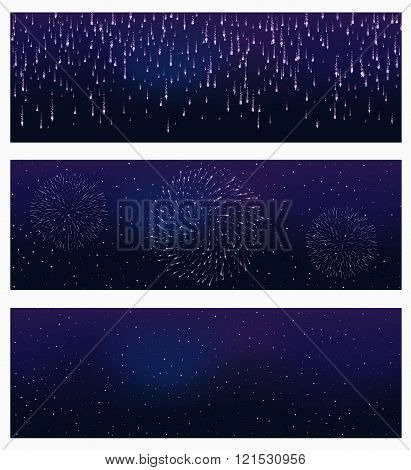 set of festive firework bursting in various shapes sparkling on black background abstract vector iso