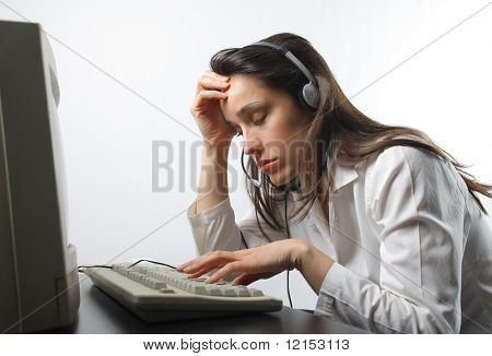 stressed customer support operator woman