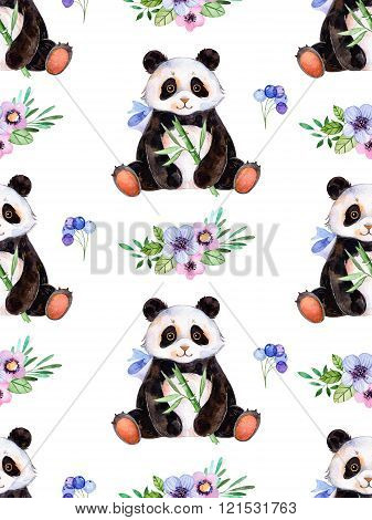 Seamless texture with flowers and cute Panda
