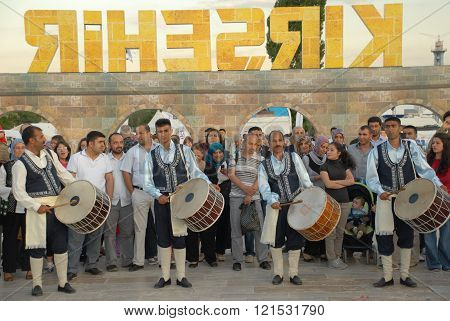 ANKARA/TURKEY-JUNE 8: Folk music drummers at the stage during the