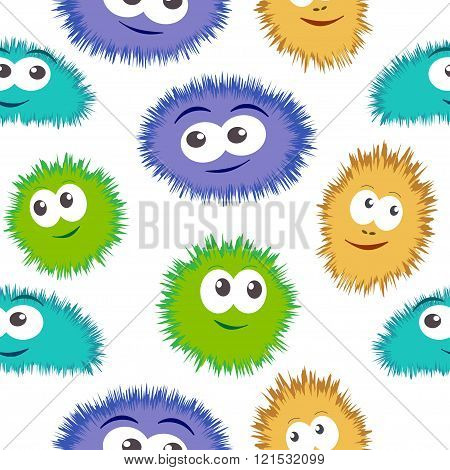 Seamless pattern bacteria with colorful monster face. Vector background with cartoon funny germs, cu