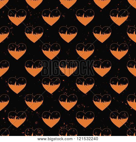 seamless pattern of hearts in flame painted on grunge cement wall background with flame sparks - lov