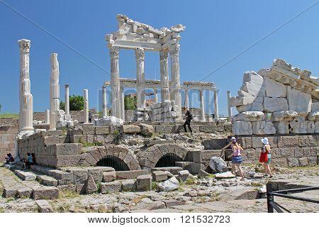 Ephesus Turkey - April 30.2013 - Column temple in Ephesus Turkey