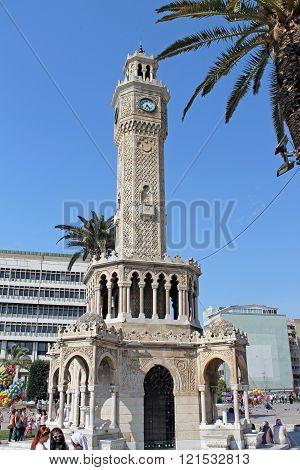 Izmir Turkey - May 04.2013- Famous ancient clocktower in Konak Square Izmir built in 1901 the tower became the symbolic landmark of Izmir